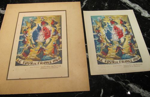 "Paire de lithographies couleurs ""Tour de France, 1949"" par Alfred Selig"