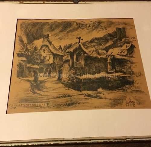 "Lithographie signée ""Kaysersberg, Hiver 1946"" par Alfred Selig"