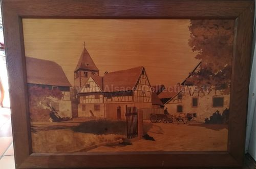 "Marqueterie ""Village de Wintzenheim"" par Paul Spindler"