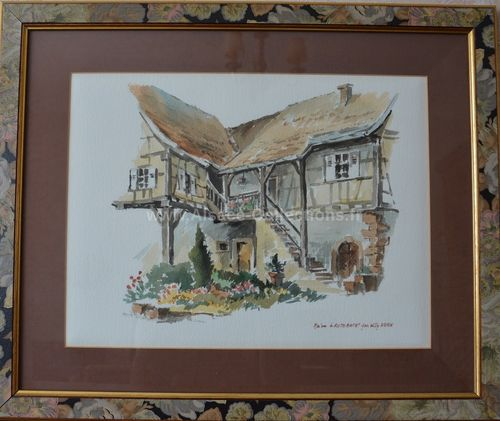 "Aquarelle ""Maison à Rothbach"" par Willy Kuhn"