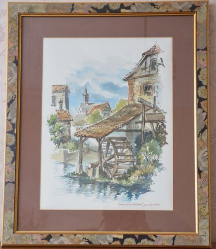 "Aquarelle ""Moulin de Rahling"" par Willy Kuhn"
