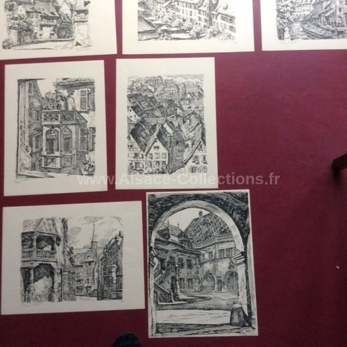 "Pochette de 12x Lithographies ""Regards sur Colmar"" par Pierre Sturm"