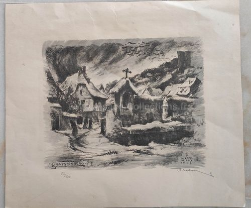 "Lithographie contresignée ""Kaysersberg 1946"" par Alfred Selig"